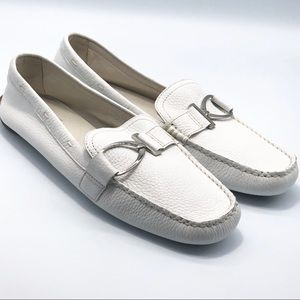 Anne Klein White Leather Driving Moccasin  10